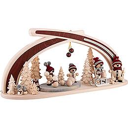 Candle Arch - Solid Wood Snowmen - 59x30 cm / 23.2x11.8 inch
