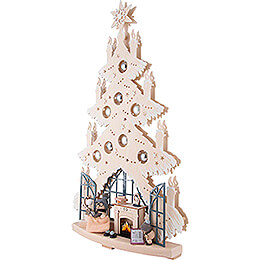 Light Triangle - Fir Tree - Fireplace Room with Silver Christmas Balls and White Frost - 42x70 cm / 16.5x27.6 inch