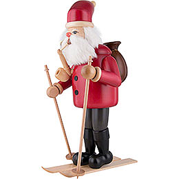 Räuchermännchen Weihnachtsmann mit Ski - rot - 52 cm