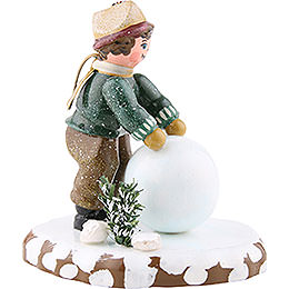 Winter Children Boy with Snowball - 7 cm / 3 inch