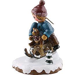 Winter Children Boy with Toboggan - 7 cm / 2,5 inch