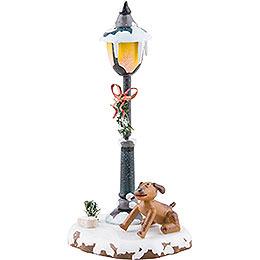 Winter Children Doggy under the Lamppost - 12 cm / 5 inch