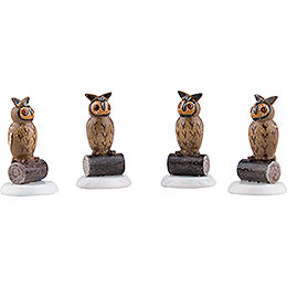 Winter Children Set of Four Owl - 3,5 cm / 1,5 inch