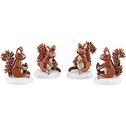 Winter Children Set of Four Squirrel - 3 cm / 1,5 inch