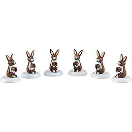 Winter Children Rabbit - Set of Six - 1,5 cm / 0,5 inch