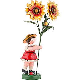 Blumenkind Mädchen mit Kokardenblume - 24 cm