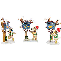 Winter Children Set of Three Newspaper Courier 6 cm / 2 inch