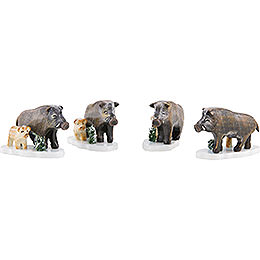 Winter Children Set of Four Wild Boar - 3 cm / 1,5 inch