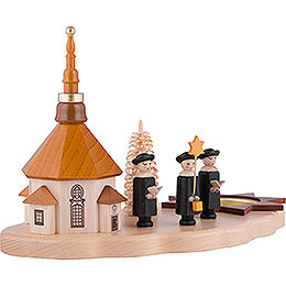 Tea Light Holder - Seiffen Church and Carolers - 13 cm / 5.1 inch