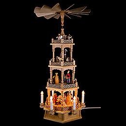 4-stöckige Pyramide Krippenfiguren bunt / elektrisch - 72 cm
