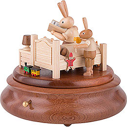 Electronic Music Box - Bunny Bed with Good Night Stories - 16 cm / 6 inch