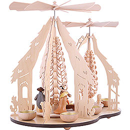 1-Tier Pyramid - Two Winged Wheels - Nativity Scene - 37x35 cm / 14.5x14 inch