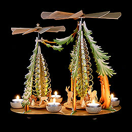 1-Tier Pyramid - Two Winged Wheels - Deer in the Woods, Colored - 37x35 cm / 14.5x14 inch