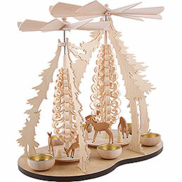 1-Tier Pyramid - Two Winged Wheels - Deer in the Woods - 37x35 cm / 14.5x14 inch