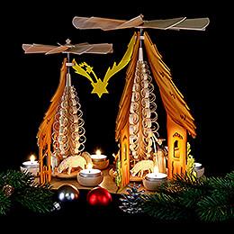 1-stöckige Doppelpyramide 'Taulin' Christgeburt, farbig - 37x35 cm