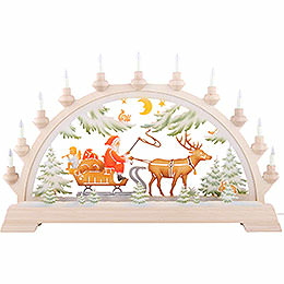 Candle Arch - Santa Claus on Sleigh, Colored - 65x40 cm / 26x17.5 inch
