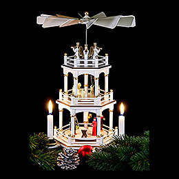 3-Tier Pyramid - Christmas, White - 35 cm / 13.8 inch
