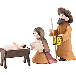 Holy Family, Set of Three, Stained - 7 cm / 2.8 inch