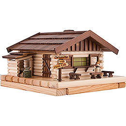 Smoking Lighted House - Ski Hut with Figurines - 17x31 cm / 6.7x12.2 inch