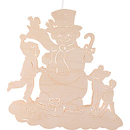 Window Picture - Snowman with Child and Fawn - 33 cm / 13 inch