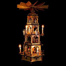 4-stöckige Pyramide Christi Geburt mit Musikspielwerk - 70 cm