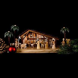 Große Weihnachtskrippe elektrisch beleuchtet