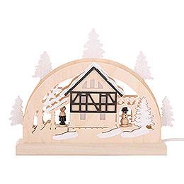 Mini-LED-Schwibbogen Fachwerkhaus - 23x15x4,5 cm