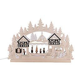 3D-Doppelschwibbogen Seiffener Weihnachtsmarkt - 74x47x5,5 cm