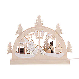 Mini LED Candle Arch - Snow Shovelling - 23x15x4,5 cm / 9x6x2 inch