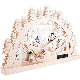 Schwibbogen Winterlandschaft mit Schneemanngruppe - 62x33 cm