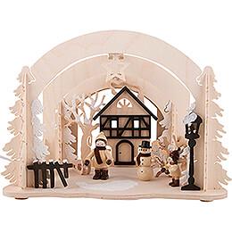 Raumleuchte als Diorama Winterfreuden - 19 cm