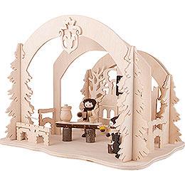 Raumleuchte als Diorama Burgweihnacht - 19 cm