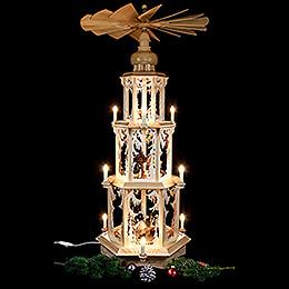 3-stöckige Pyramide Walddesign - elektrisch mit Figuren - 105 cm