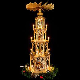4-stöckige Pyramide Walddesign - elektrisch mit Figuren - 135 cm