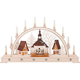 Candle Arch - Church with Carolers and LED Interior Lights - 78x45 cm / 30x17 inch