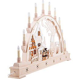 Candle Arch - Christmas Market with LED Interior Lights - 78x45 cm / 30x17 inch