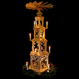 4-Tier Christmas Pyramid - Forest Design - Wax Candles with Figurines - 135 cm / 53 inch