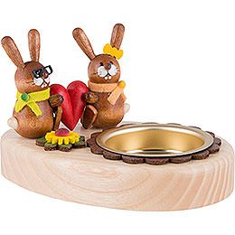 Tea Light Holder - Bunny Couple with Heart - 5 cm / 2 inch