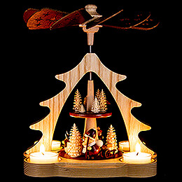 2-Tier Pyramid - Santa Claus and Snowman - 22 cm / 8.7 inch