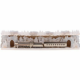 Illuminated Stand 'Train Ride Through the Ore Mountains' with White Frost for Candle Arches - 75x20x15 cm / 29.5x7.9x5.9 inch