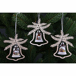 Tree Ornament - Hand Painted Glass Bell Ice Princess, Set of Three - 9x8 cm / 3.5x3. inch