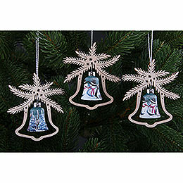 Tree Ornament - Hand Painted Glass Bell Snow Man, Set of Three - 9x8 cm / 3.5x3. inch