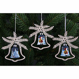 Tree Ornament - Hand Painted Glass Bell Santa Claus, Set of Three - 9x8 cm / 3.5x3. inch