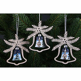 Tree Ornament - Hand Painted Glass Bell Church of Seiffen, Set of Three - 9x8 cm / 3.5x3. inch