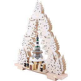 Light Triangle - Church of Seiffen with Snow - 44x50x15 cm / 17x20x6 inch