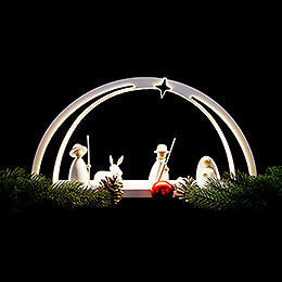 Candle Arch - modern wood WHITE LINE - Nativity - 57x26x10 cm / 22.4x10.2x3.9 inch