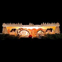 Schwibbogenerhöhung Weihnachtsidylle mit Schwibbogen 75x20x15 cm