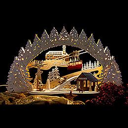 Schwibbogen Fichtelberg verschneit - 53x31 cm
