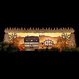 Schwibbogenerhöhung Seiffener Schule mit Schwibbogen - 57x17 cm