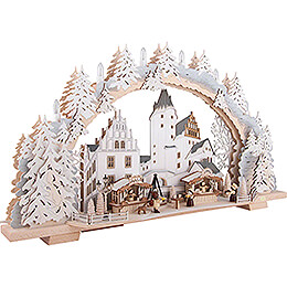 Candle Arch - Christmas Market at Schwarzenberg Castle with Snow - 72x43 cm / 28.3x16.9 inch
